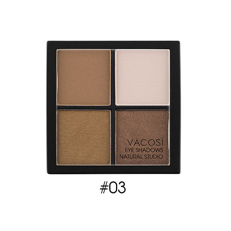 Phấn mắt 4 ô Vacosi Natural Studio Chocolate Brown 03