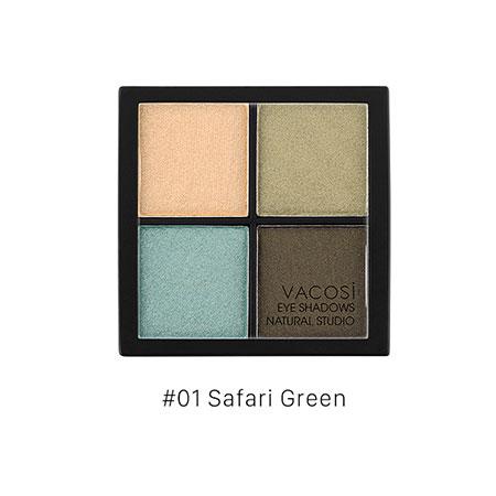 Phấn mắt 4 ô Vacosi Natural Studio Safari Green 01