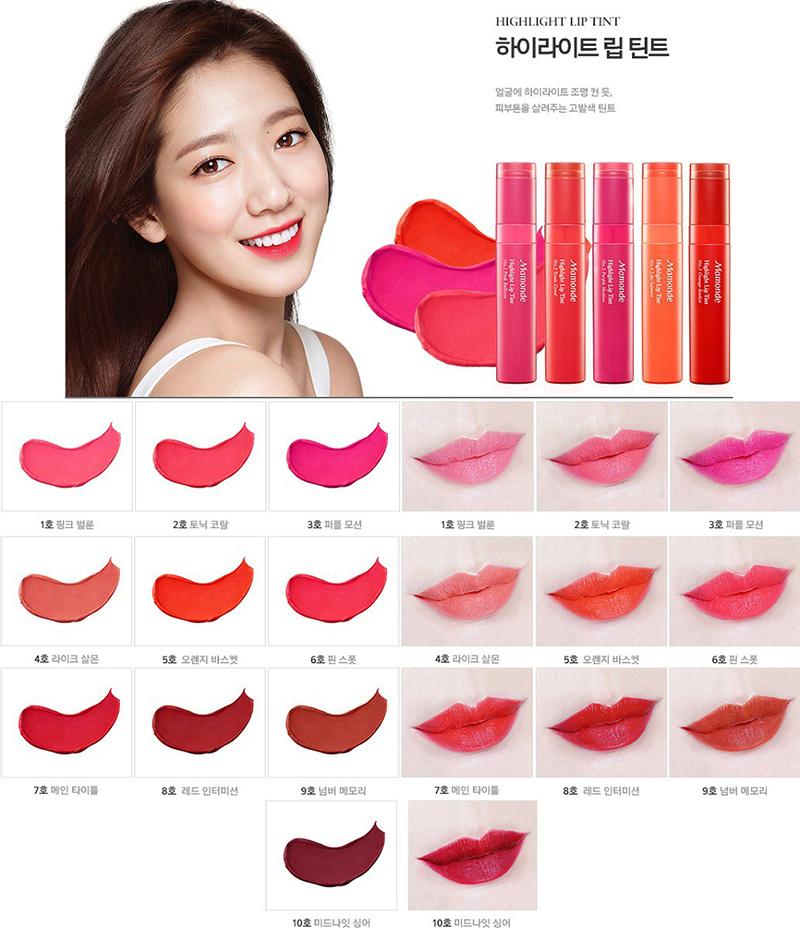 Bảng-màu-Son-môi-Mamonde-Highlight-Lip-Tint