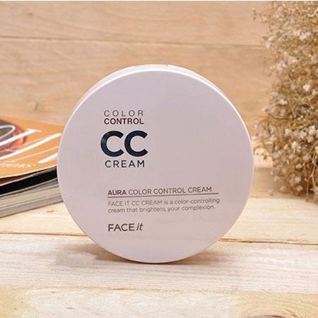 Kem Nền The Face Shop CC Cream Face It Aura Color Control Cream