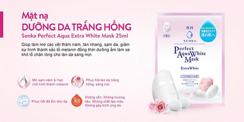 Mặt nạ dưỡng trắng da Senka Perfect Aqua White Mask Extra White