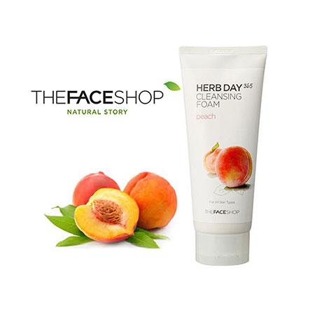 Sữa rửa mặt The Face Shop Herb Day 365 Cleansing Foam Peach