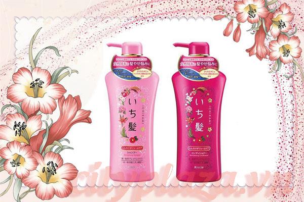 Bộ-dầu-gội-xả-Ichikami-Kracie-Nhật-Bản-màu-hồng