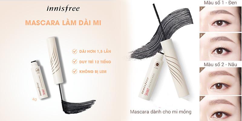 Mascara siêu mảnh màu đen Innisfree Skinny Waterproof Microcara